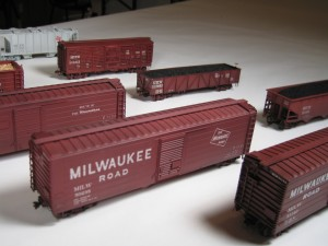 HO scale Milwaukee Road freight car models by John Mess