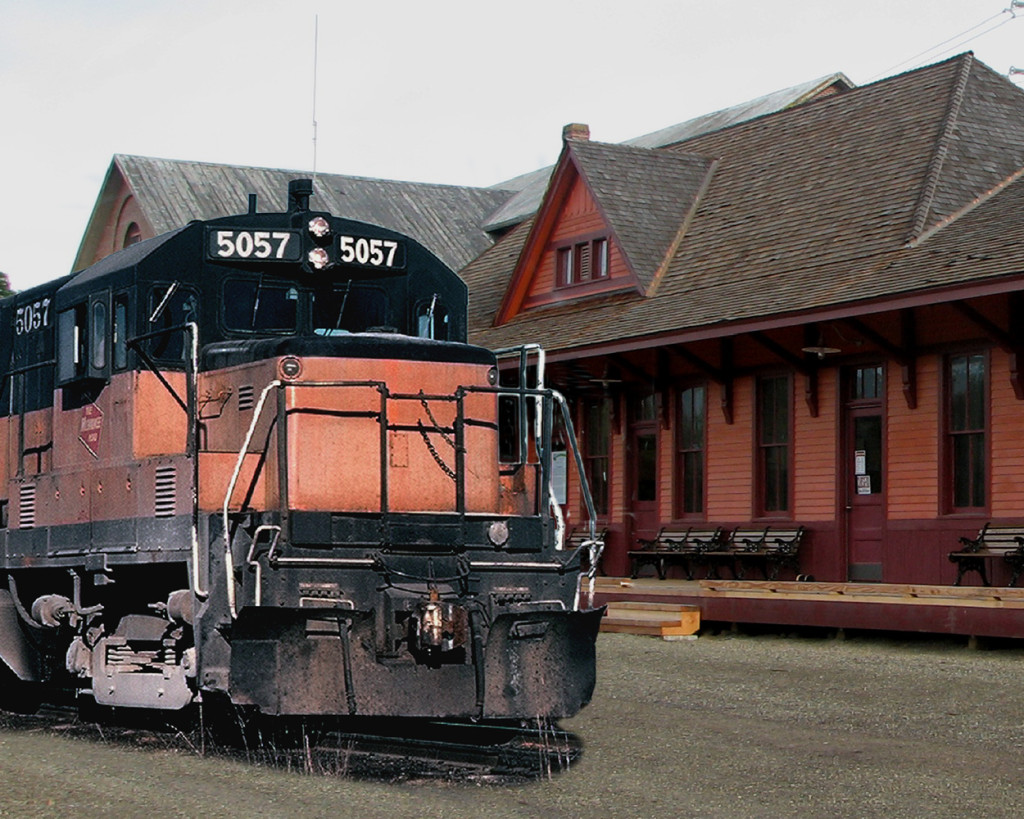 Photo montage of the 5057 and the Cle Elum depot by Tom Kermen.
