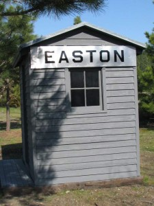 Side view of the Easton telephone shack. The Milwaukee Road station sign was fabricated using the original EASTON station sign as a pattern.