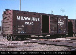 MILW 38524 40' single door ribside box car at Bensenville, IL on June 1, 1979.  George Werkema photo in the Cascade Rail Foundation, George Werkema Collection, all rights resreved.